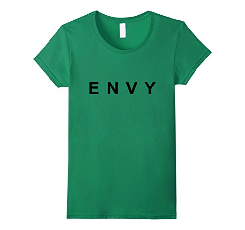 Funny Halloween Pun Costumes (Womens Green With Envy Funny Easy Halloween Pun Costume T-Shirt Medium Kelly Green)