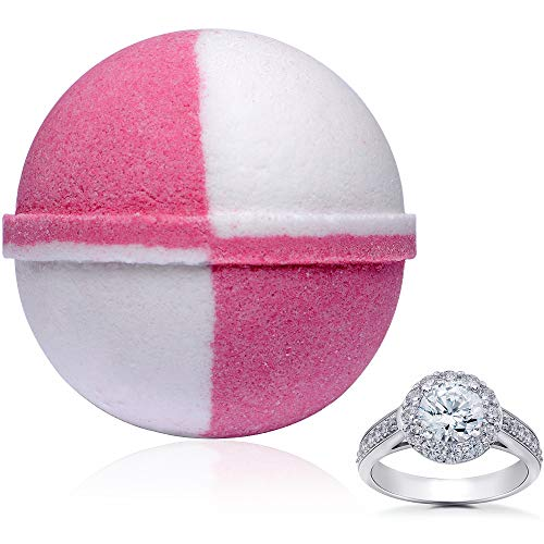 Bath Bomb Strawberries and Champagne Extra Large 10 oz. Made in USA with Surprise Size Ring Inside