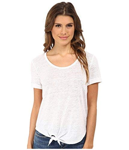 - C&C California Women's Roll Sleeve Tee w/ Side Tie Detail Optic White T-Shirt LG (US 12-14)