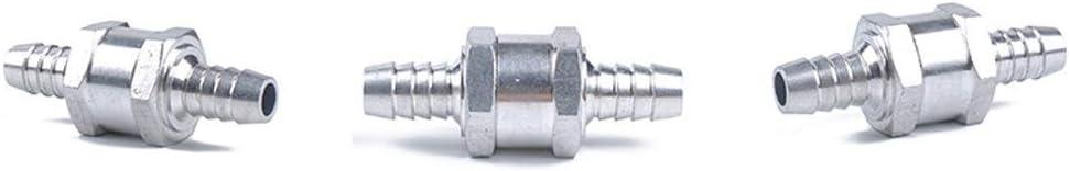 Combustible non-return una manera v/álvula de retenci/ón gasolina Diesel marina aleaci/ón de aluminio con 6 abrazaderas de manguera 3 piezas 10 mm Valvula de retencion de petroleo combustible
