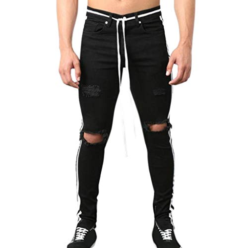 3f6096e4fa iHPH7 Jeans Skinny Fashion Stretch Slim Fit Ripped Destroyed Distressed  Pants Fashion Straight Hole Trouser (S,3- White)