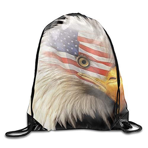 Aigle, Tete, Drapeau Americain Drawstring Backpack String Bag Nice Gift For Boyfriend/Girlfriend