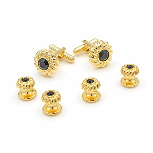 JJ Weston Black Crystal Tuxedo Cufflinks and Shirt Studs. Made in the USA