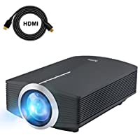 DeepLee Mini Projector, Home Video Projector with HDMI AV VGA USB SD Support HD 1080P PC Laptop Xbox PS4 DVD Player for Video Game Movie Night Family Video and Picture (DP500 Black)