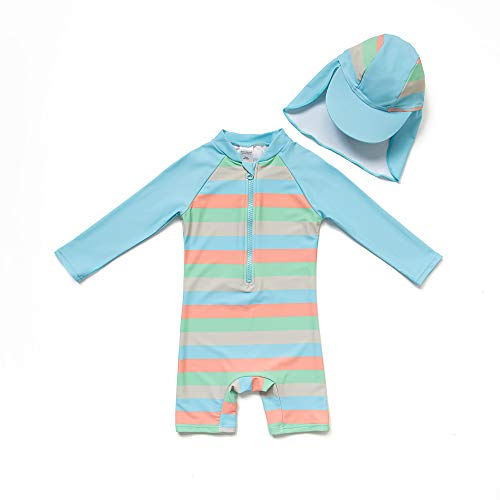 Bonverano(TM Infant Boy's UPF 50+ Sun Protection L/S One Piece Zip Sun Suit Free Sun Hat (Stripes, 9-12 (Infant Sun Protection Suit)
