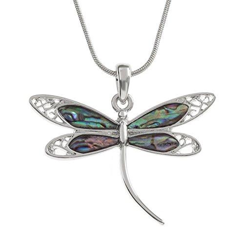 Liavy's Dragonfly Charm Pendant Fashionable Necklace - Abalone Paua Shell - 17