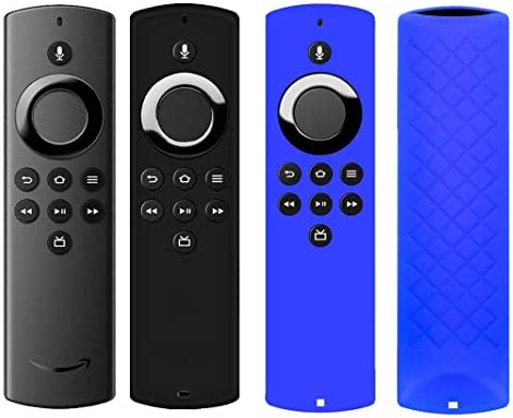 HJYuan 2 Pack Remote Case Cover are compatible for F TV Stick Lite Compatible with Alexa Voice Remote Lite 2020 Release Anti-Slip Shockproof Silicone Remote Controls Protective Case - Black Dark Blue