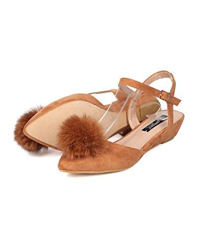 Camel Suede Pom DbDk Women Night Pom by Faux Girls GD39 Wedge DOrsay Dressy Casual Sandal qwSaw6rEnW