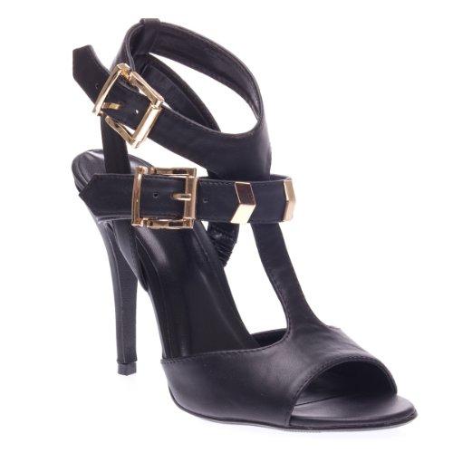 Delicious Womens ARROYO Open Peep Toe Slingback Ankle T Strap Chevron High Heel Stiletto Pump Shoes