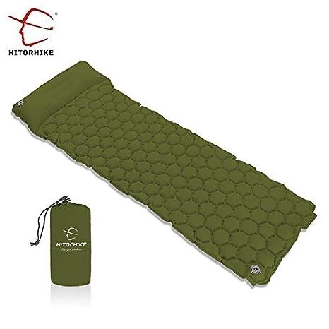 Colchón Camping con Almohada Esterilla Camping Inflable Colchoneta de Acampada, Ultra Ligero Colchon de Aire Portátil,Verde del ejército, de HITORHIKE ...