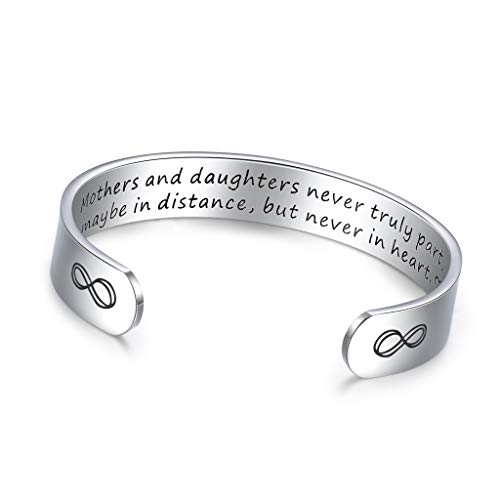 KOORASY Friendship Gifts for Women Inspirational Best Friend Bracelet Cuff Bangle Motivational Encouragement Birthday Gifts for Women Men Girls (15-Mothers and Daughters Never Truly Part_12mm)
