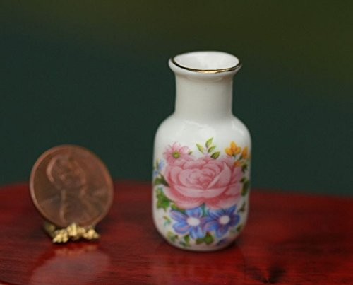 artisan hand made Dollhouse Miniature Pink Floral Vase Trimmed in 14 K Gold