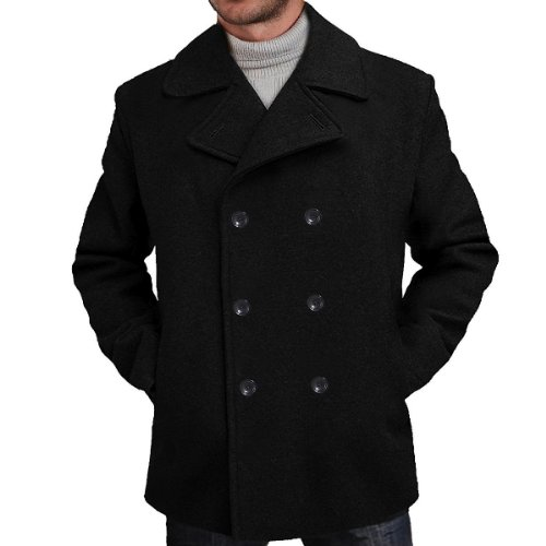 College Short Black Classic - BGSD Men's 'Mark' Classic Wool Blend Pea Coat - L Black
