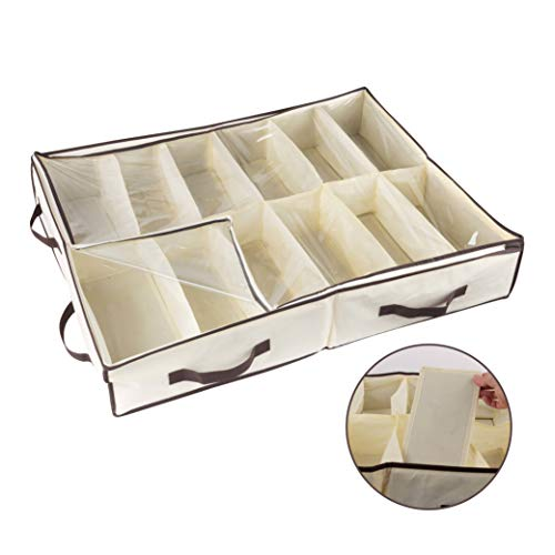Organize City-Under Bed Shoe Storage Organizer -Fits Shoes Up to Size 12-- Sturdy Sides & 12 Inserts for Stiffness - Plastic Zippered Cover -Closet Storage Solution-(Stores 12 Pairs) 24