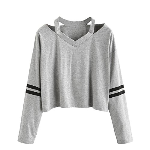Keepfit Fashion Crop Tops, Striped Sweatshirt Causal Cut Out Shoulder Blouse For Women (XL, Gray)
