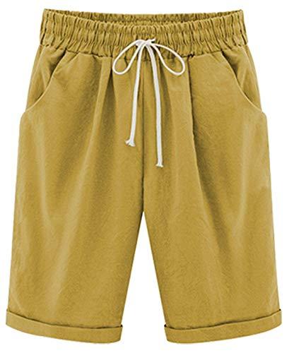 Yknktstc Womens Casual Elastic Waist Knee Length Curling Bermuda Shorts with Drawstring Large Mustard Yellow ()