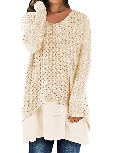 Liyuandian Womens Knitted Sweater V- Neck Casual Loose Baggy Long Pullover  with Chiffon Ruffle d6cb6cc4d