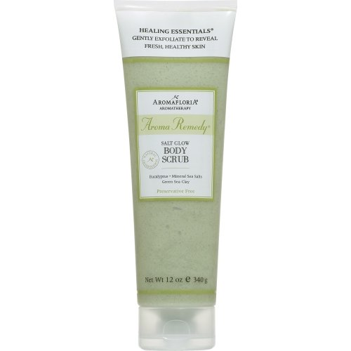 afloria SALT GLOW BODY SCRUB 12 OZ BLEND OF EUCALYPTUS, M... (Package of 6 ) (Aroma 12 Ounce Salt)