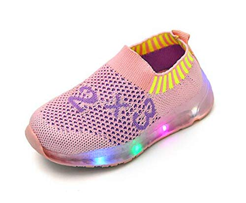 ZWEILI LED Glowing Flashing Shoes Flying Woven Breathable Sports Children Shoes(Pink,29) -