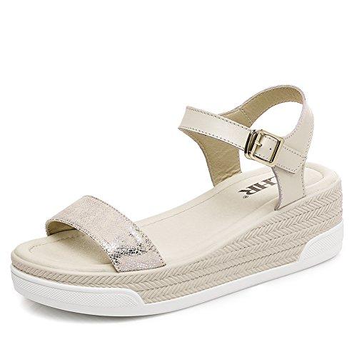 Sandales De à Chaussures Plate Une Sandales Femmes Flat Plateforme En été De B Coréenne Bande Version Épaissir Shoes forme qt1aTS