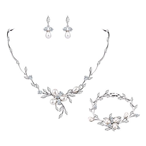 EVER FAITH Clear Marquise CZ Simulated Pearl Bride Flower Leaf Filigree Necklace Earrings Bracelet Set Silver-Tone ()