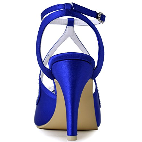 Elegantpark Vrouwen Hoge Hak Pompen Peep Toe Parels Riemen Avond Prom Bruids Sandalen Royal Blue