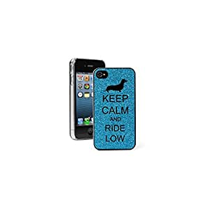 Light Blue Apple iPhone 4 4S 4G Glitter Bling Hard Case Cover G409 Keep Calm and Ride Low Dachshund Dog