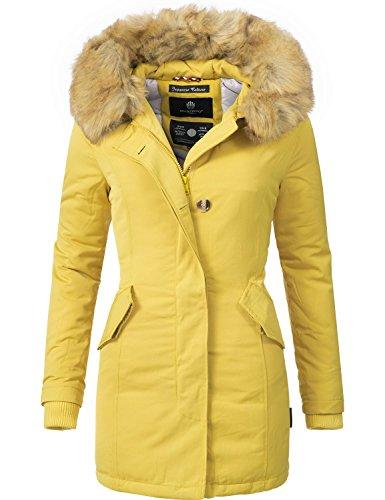 Marikoo Karmaa Abrigo de Invierno para Mujer XS-5XL 15 Colores XS-XXL Amarillo