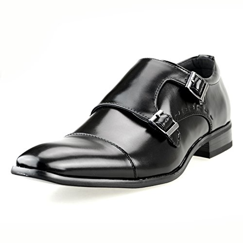 Mm / Un Mens Doppio Monk Strap Oxford Abito Scarpa Puntale Scarpe Slip-on Mocassino Nero Marrone Mpt117-3 Nero