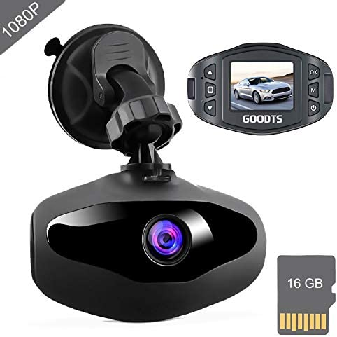 Dash Cam GOODTS Full HD 1080P Mini Car Camera Driving Recorder 1.5 inch Screen 170 Wide Angle, Dashboard Camera with G-Sensor Loop Recording WDR Motion Detection Night Vision 16GB Card Included