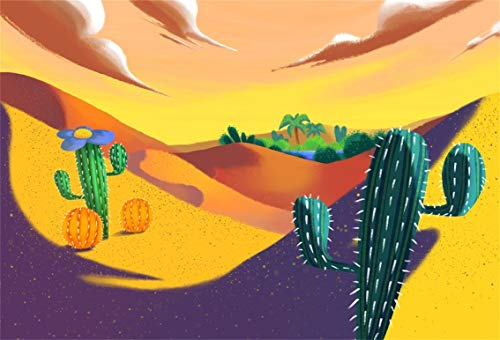 CSFOTO 5x3ft Background for Cartoon Cactus Desert Oasis Photography Backdrop Birthday Party Decor Cactus Flowers Dark Clouds West Child Kid Baby Portrait Photo Studio Props Polyester Wallpaper]()
