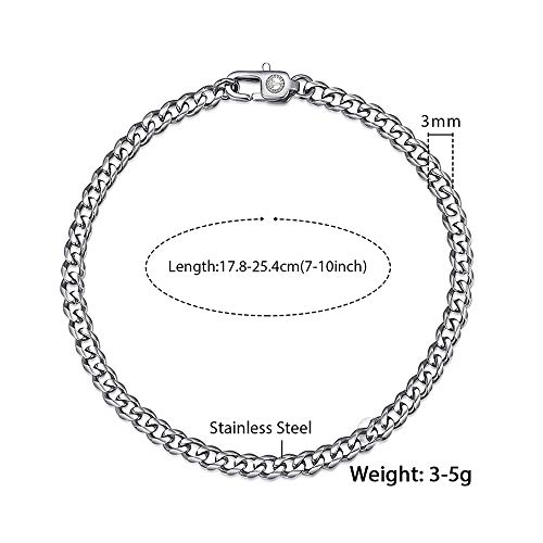 CAIYCAI Mens Bracelet Chain Polished Stainless Steel Silver Black Gold Chains Bracelet for Men Cuban 3mm Silver 7inch 18cm