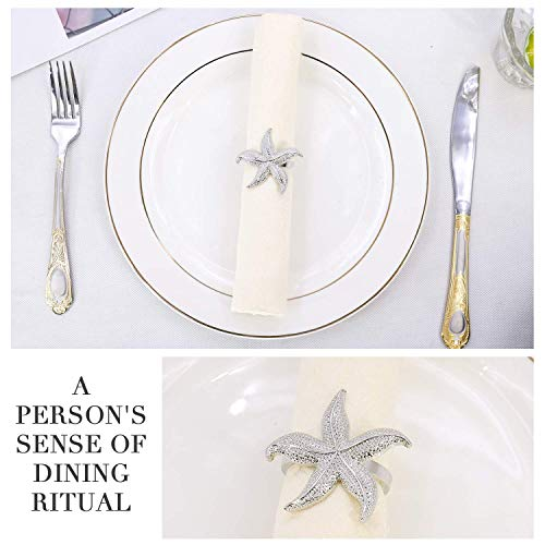 Elehere Napkin Rings Set of 6 Crown Rhinestone for Wedding Party Dinner Table Decor (Starfish Silver, 6)