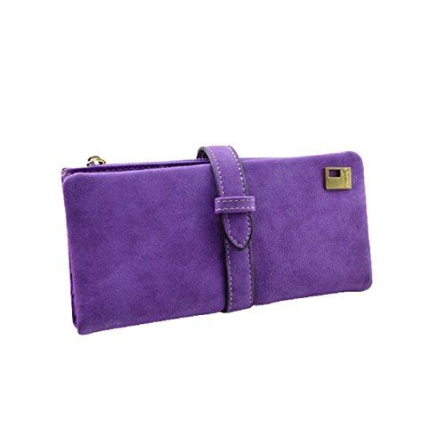Pooqdo(TM) Newest Lady Hit Color Scrub Retro Purse Card Holder Clutch Wallet Purple