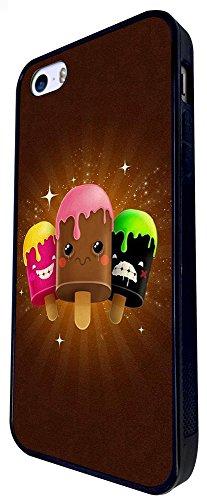 1265 - Cool Fun Trendy Cute Ice Cream Candy Sorbet Cartoon Emoji Sweets Animation Design iphone SE - 2016 Coque Fashion Trend Case Coque Protection Cover plastique et métal - Noir