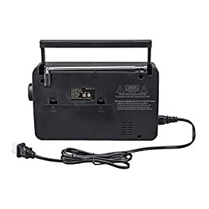 "JP-1 AM/FM 2 Band Portable Radio AC operated or operated by dry battery (""D"" Size x 4pcs, battery not included), black"
