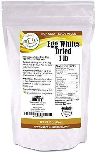 1 lb (16oz) Dried Egg Whites (Non-GMO, Pasteurized, USA Made, 1 Ingredient no additives, USDA Certified, Freshest of Eggs)(50 lb Bulk Size Available) -