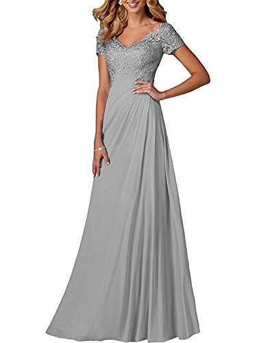 FOLOBE Long V-Neck Mother Of The Bride Dress Beading Chiffon Prom Evening Gown