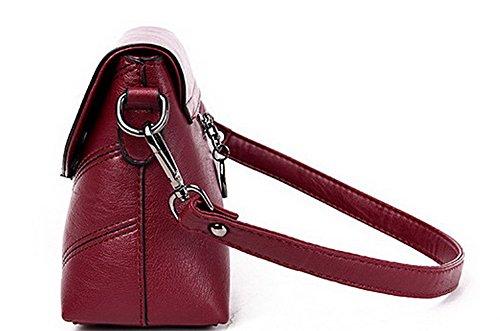 Femme sacs Pu Gris Odomolor Décontractée Cuir Rouge Achats à Sacs bandoulière Orné Des Vineux ROFBL180881 dqqXEr