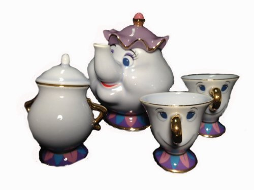 Disney Resort limited release ' Beauty and the Beast ' Mrs. Potts and Chip teapot set TM Mrs. Potts of pot u0026 chip of tea cup u0026 sugar -