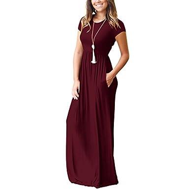 Vestido de mujer, Lananas 2018 De las mujeres Manga corta Llanura suelta Sólido Elástico Casual Maxi Vestidos largos con bolsillos Long Dresses: Amazon.es: ...