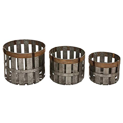 - Glitzhome Farmhouse Metal Slotted Storage Basket Galvanized Fall Home Decor, Set of 3