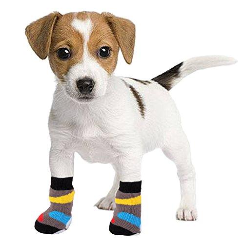 4 PCS Antideslizantes Mascotas perro calcetines para el desgaste interior: Amazon.es: Deportes y aire libre