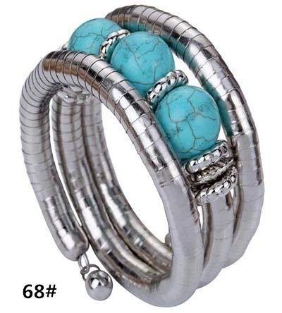 Ylisa Fashion Shiny Jewelry Tibetan Silver Bangle Turquoise Bead Chain Adjustable Gift (Size: 1.5