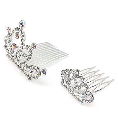 Elesa Miracle 8pc Girl Hair Accessories Rhinestone Tiara Crown Hair Comb Value Set, Princess Flower Girl Wedding Party Favor Hair Jewelry