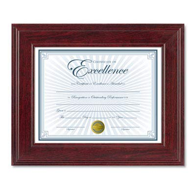 Executive Document/Photo Frame, Desk/Wall Mount, Plastic, 8 1/2 x 11, Mahogany (7 Pack)