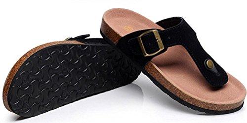 Damesshirt Met Platte, Zachte Voetjes Van Slijtvaste Pantoffels Atletische String-sandalen Plus Zwart