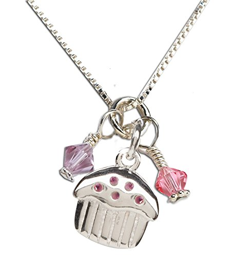 - Children's Sterling Silver Birthday Cupcake Necklace with Swarovski Crystal Charms, 14