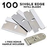 Fixson Razor Blade Scraper Tool, with 100 Replacement Blades, and Scraper Tool, Single Edge Blades Box Cutter for Glass Scraper (100 PCS)