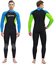 Wetsuit for Men,3mm Thermal Neoprene Wet Suits, Back Zip Long Sleeve One Piece Full Body Dive Suit for Water S